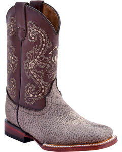 Ferrini Girls' Elephant Print Western Boots - Square Toe, Taupe, hi-res