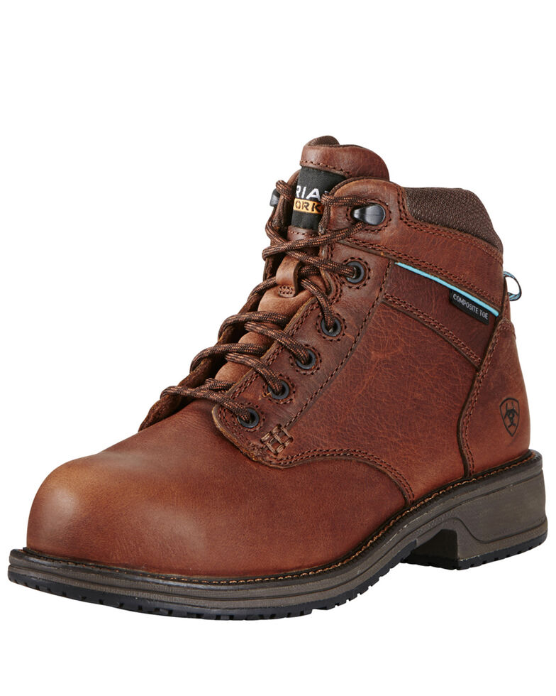 Ariat Women's Casual Lace Work Boots - Composite Toe, Brown, hi-res