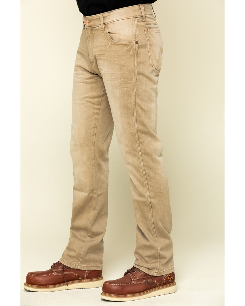 Wrangler Retro Men's Tan Stretch Slim Straight Jeans , Tan, hi-res