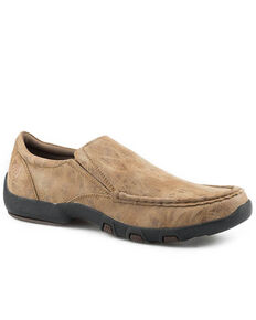 Roper Men's Faux Leather Brown Tumbled Shoes, Brown, hi-res