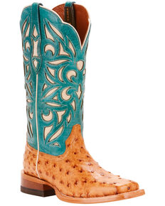 Ariat Women's Tan Carmencita Full Quill Ostrich Boots - Square Toe, Tan, hi-res