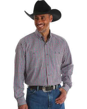 Wrangler Men's George Strait Black Plaid Double Pocket Shirt , Black, hi-res