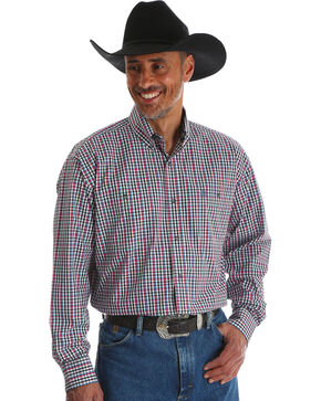 Wrangler Men's George Strait Black Plaid Double Pocket Shirt - Big & Tall , Black, hi-res
