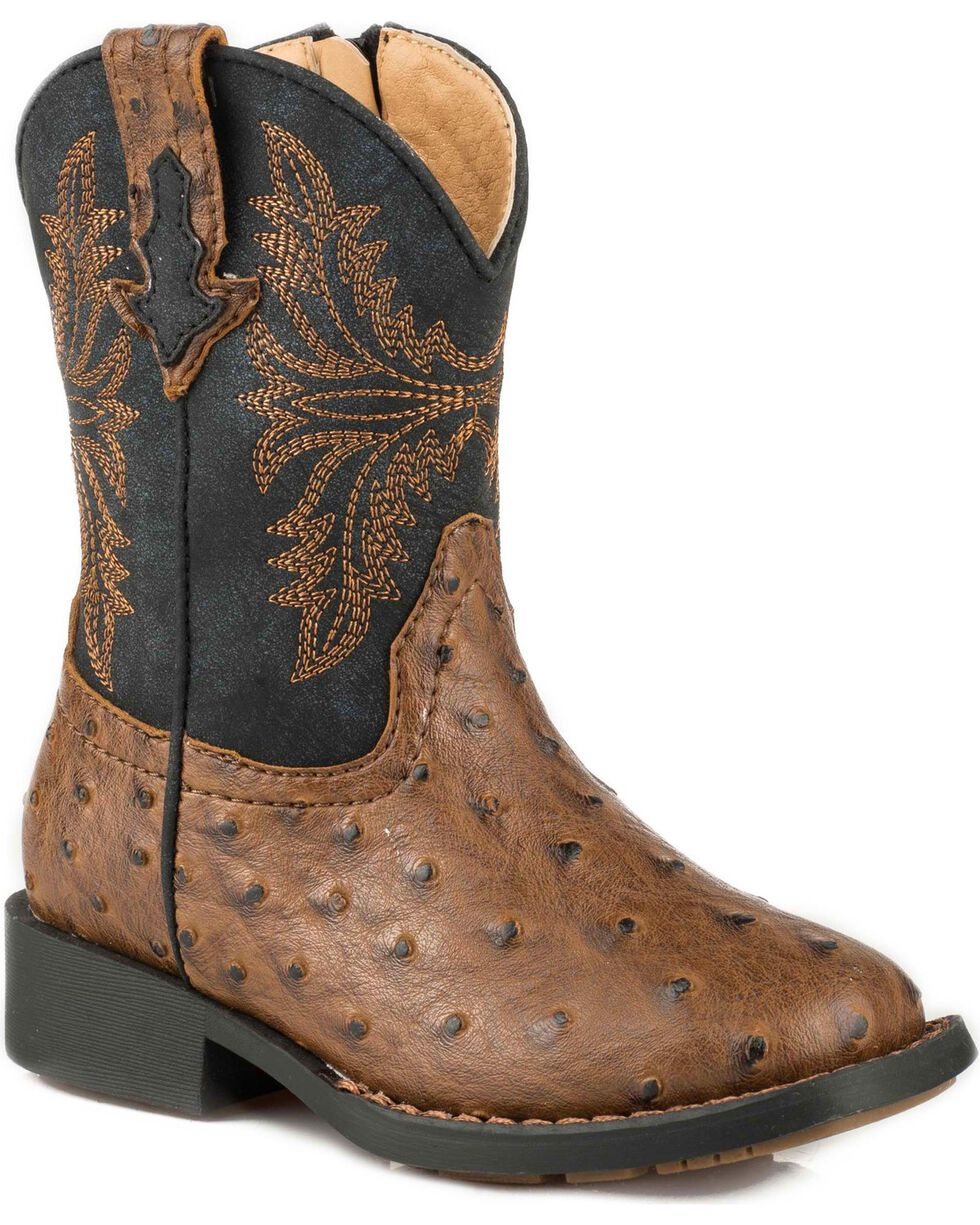 Roper Toddler Boys' Brown Ostrich Vamp Western Boots - Square Toe , Brown, hi-res