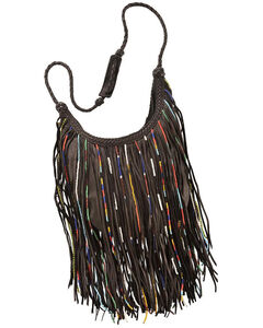Kobler Leather Black Bead and Fringe Gypsy Bag , Black, hi-res