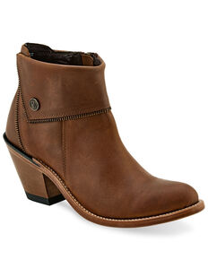 Old West Women's Zipper Fashion Booties - Pointed Toe, Tan, hi-res