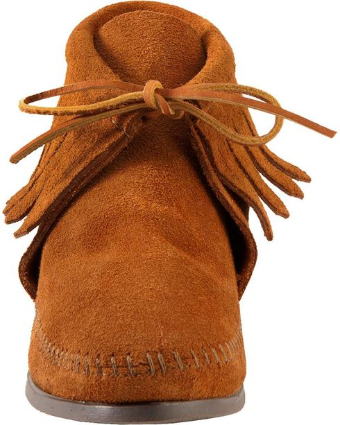 Women's Minnetonka Classic Fringe Moccasin Boots, Brown, hi-res