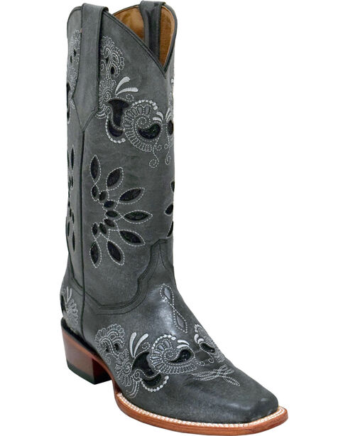 Ferrini Women's Black Masquerade Western Boots - Square Toe , Black, hi-res