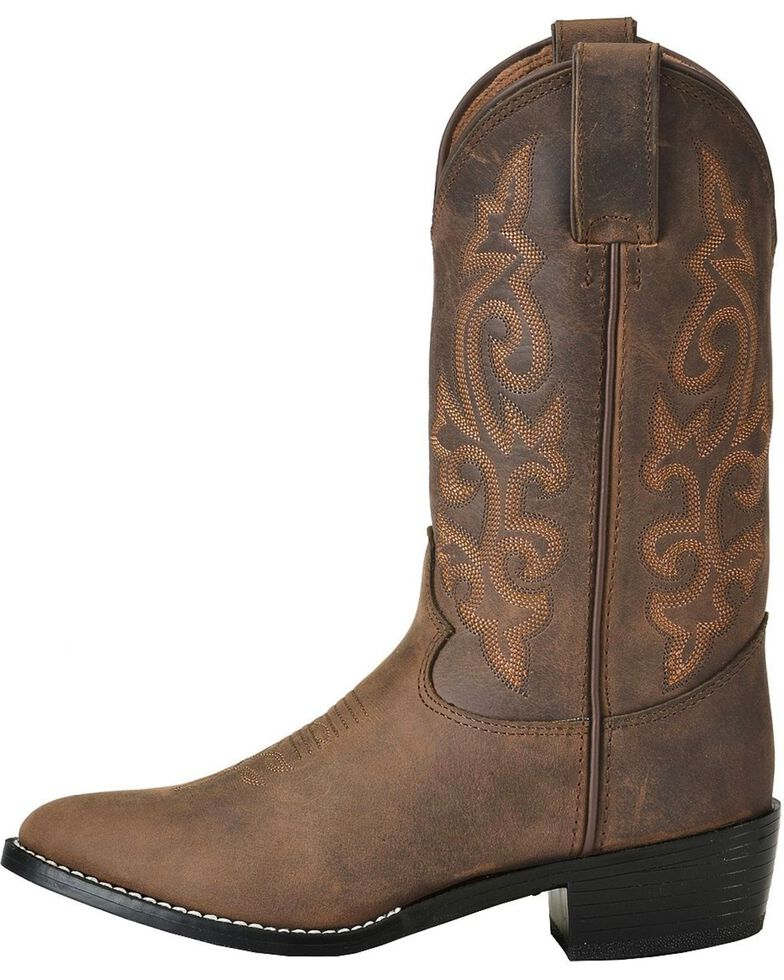 Justin Boys' Basic Western Boots - Round Toe, Bay Apache, hi-res