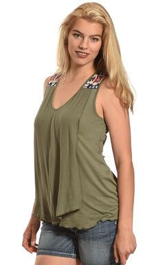 Allison Brittney Women's Sleeveless Double Layer Tank, Olive, hi-res