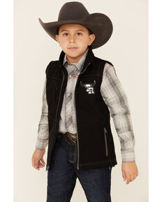 Cowboy Hardware Boys' Team Roping Ranch Embroidered Zip-Up Vest , Black, hi-res