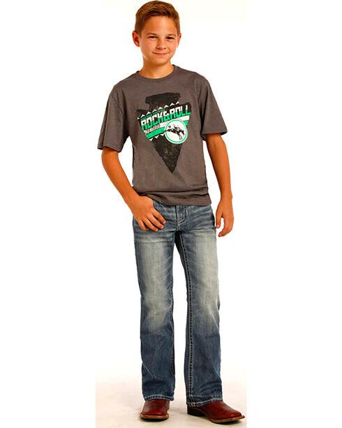 "Rock & Roll Cowboy Boys' Blue ""V"" Design Raised Denim Jeans - Boot Cut , Indigo, hi-res"