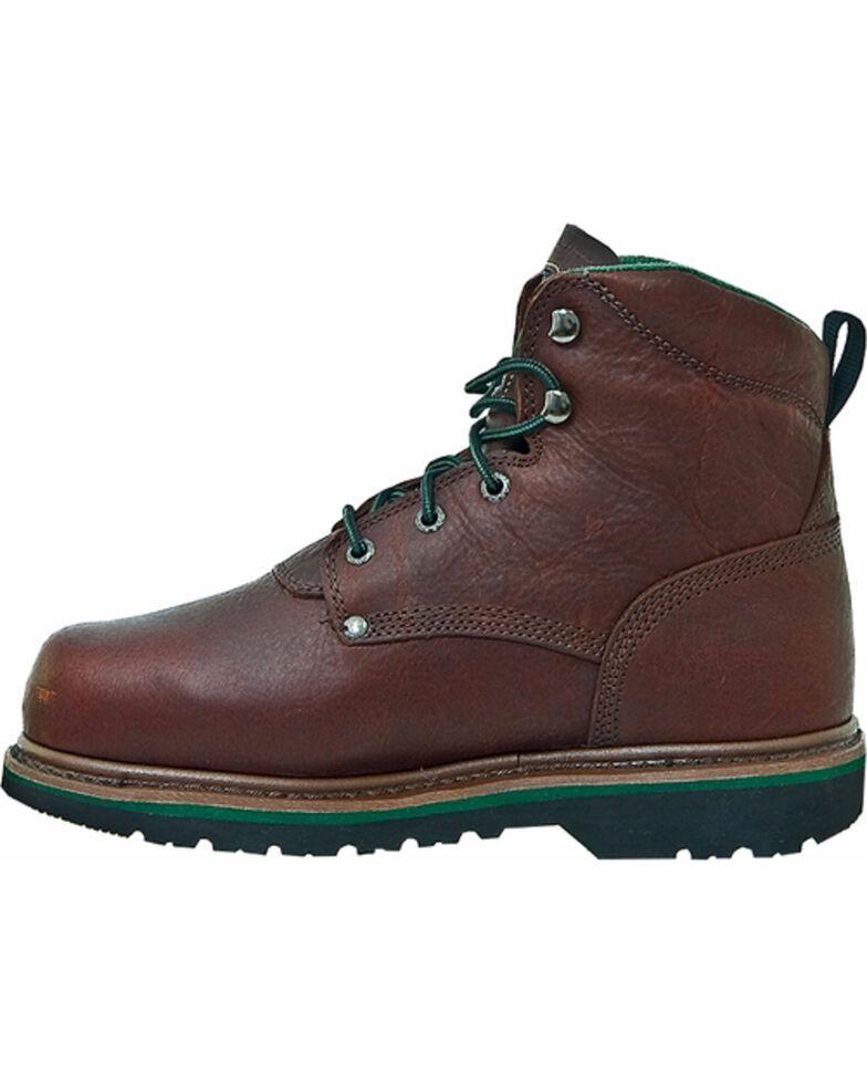 "John Deere Men's Leather 6"" Lace-Up Work Boots - Steel Toe, Brown, hi-res"