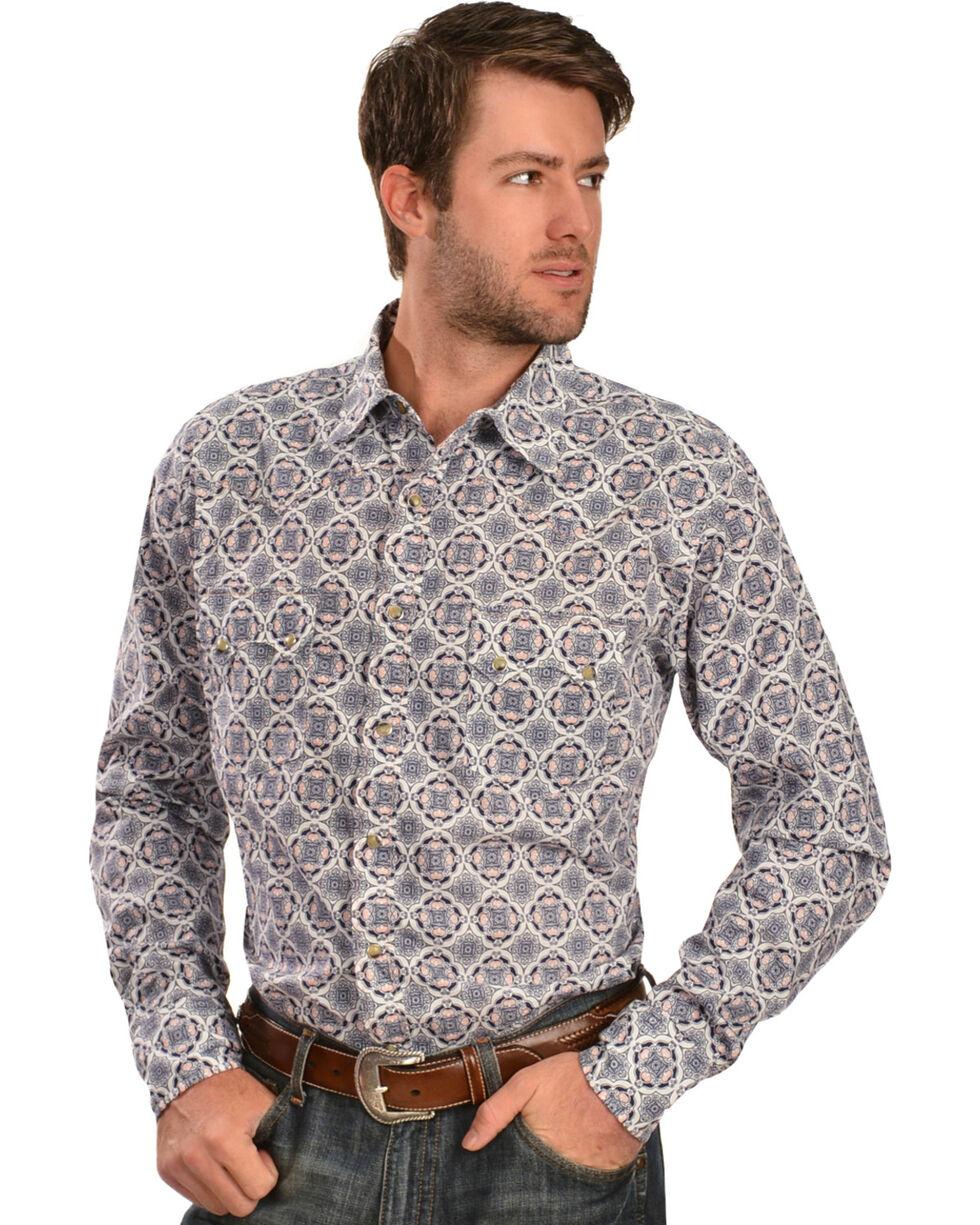 Wrangler 20X Men's Blue & White Print Long Sleeve Snap Shirt, Blue, hi-res