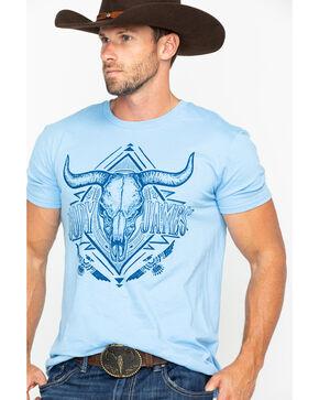 Cody James Men's Diamond Longhorn Skull Graphic T-Shirt , Blue, hi-res