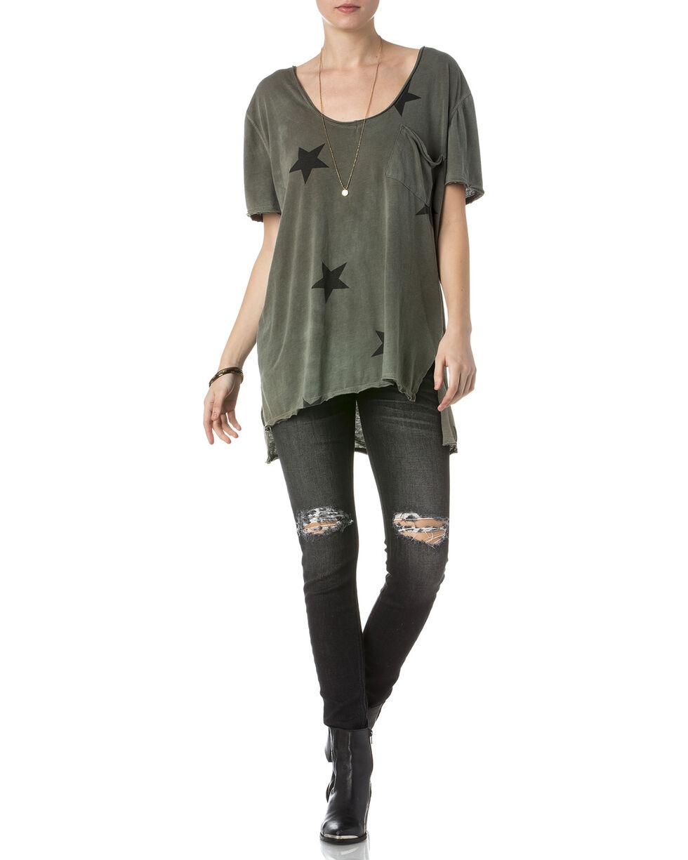 Miss Me Women's Olive Short Sleeve Star Shirt , Olive, hi-res