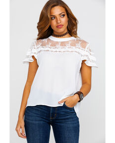 3e7938a90010af Red Label by Panhandle Womens Lace Ruffle Short Sleeve Top, White, hi-res