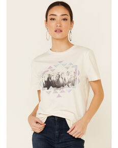 Wrangler Women's White Aztec Horses Graphic Short Sleeve Tee, White, hi-res
