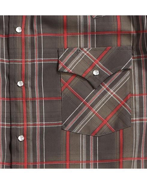 Ely Cattleman Men's Brown Textured Plaid Western Shirt , , hi-res