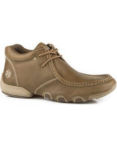 Roper Men's Tan Vintage Leather 2 Eyelet Chukka Driving Moc Shoes , Tan, hi-res