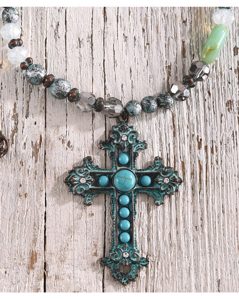 Shyanne Women's Beaded Cross Necklace , Turquoise, hi-res