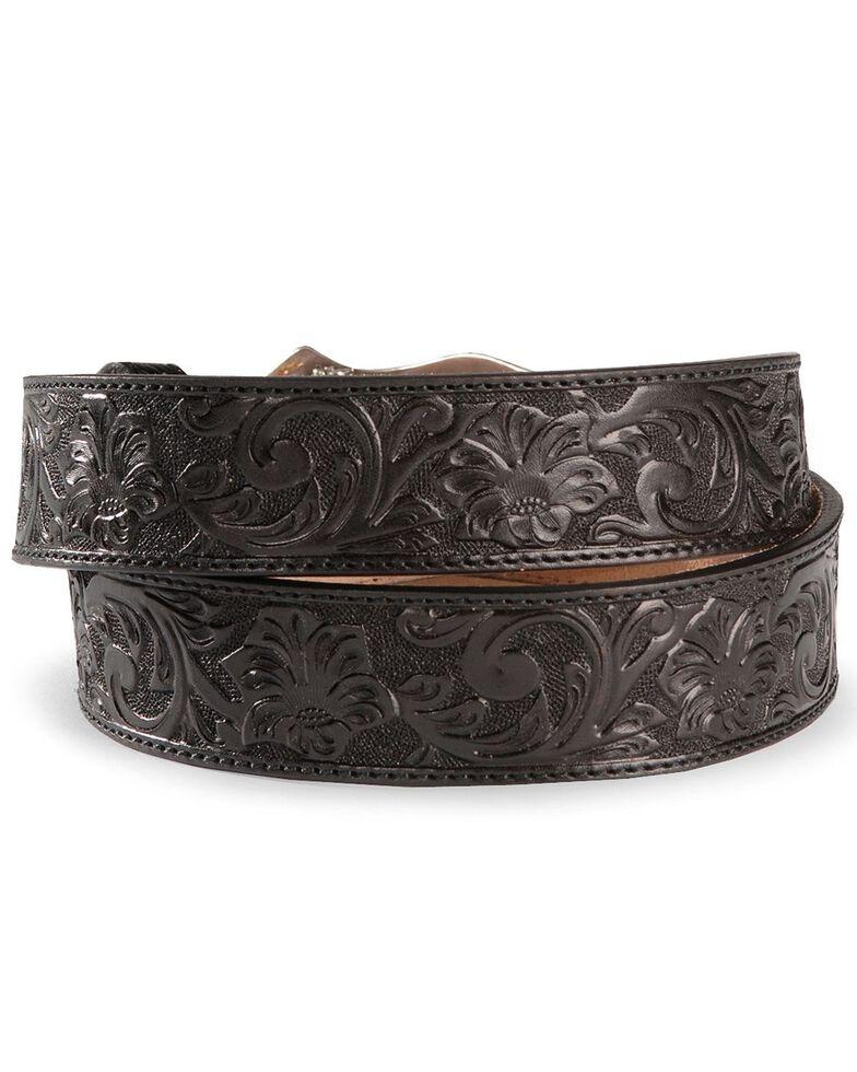 Justin Longhorn Buckle Leather Belt - Reg. & Big, Black, hi-res