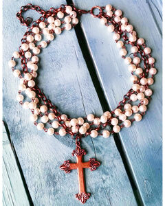 Jewelry Junkie Pearl and Copper Cross Choker, White, hi-res