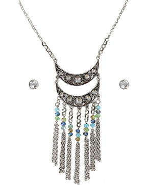 Shyanne Women's Rhinestone and Beaded Jewelry Set, Silver, hi-res