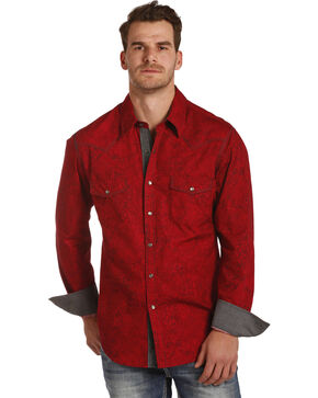 Rock & Roll Cowboy Men's Red Paisley Print Shirt , Red, hi-res