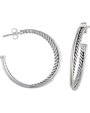 Montana Silversmiths Rope Hoop Earrings, Silver, hi-res