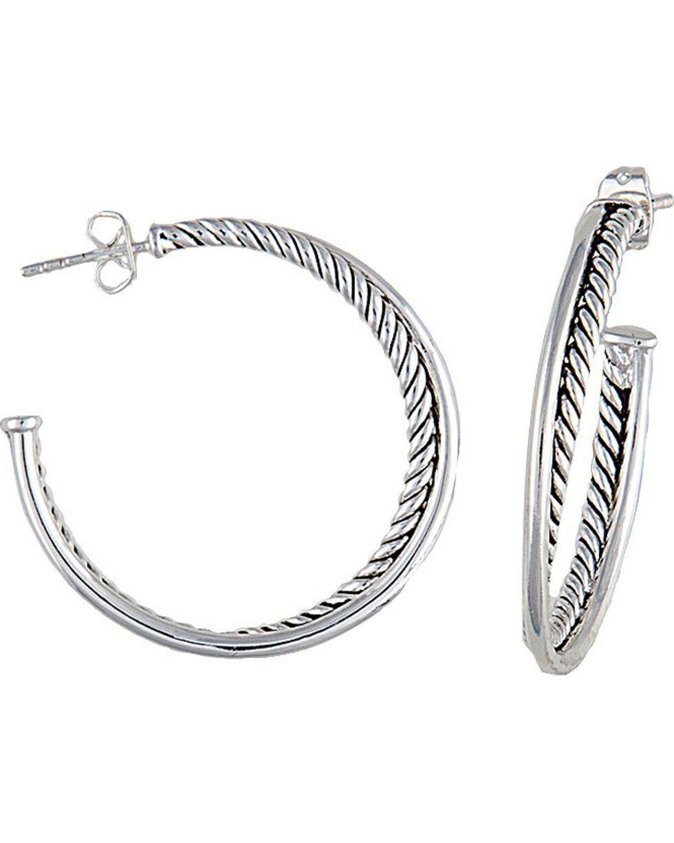 Montana Silversmiths Rope Hoop Earrings, Silver, hi-res