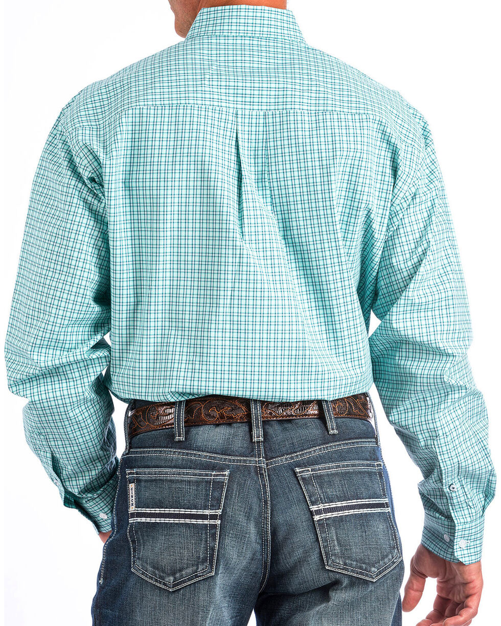 Cinch Men's Turquoise Small Plaid Western Shirt , , hi-res