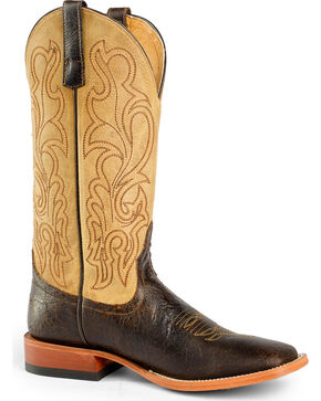 Horse Power Men's Brown/Tan Leather Cowboy Boots - Square Toe, Brown, hi-res