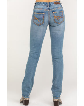 Rock & Roll Cowgirl Women's Check Mark Embroidered Extra Stretch Straight Jeans  , Light Blue, hi-res