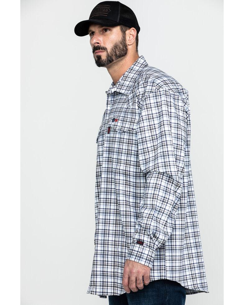 Cinch Men's FR Lightweight Check Print Long Sleeve Work Shirt - Big , White, hi-res