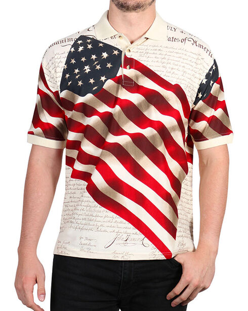 Cody James Men's Independence Short Sleeve Polo Shirt - Tall , Cream, hi-res