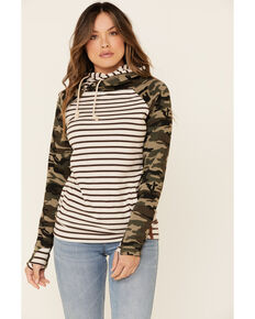Ampersand Avenue Women's Contrast Camo Striped Hooded Sweatshirt , Camouflage, hi-res