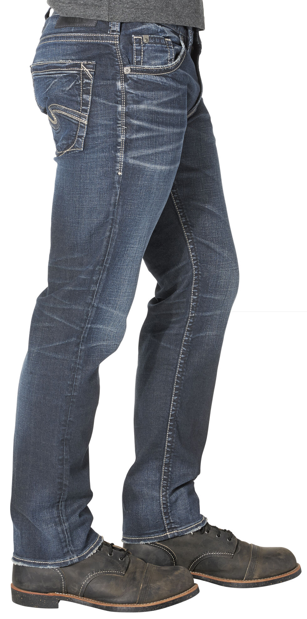 Silver Men's Eddie Relaxed Fit Tapered Leg Jeans , Indigo, hi-res