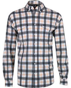 1ada995d9d Cinch Mens Orange Plaid Double Pocket Shirt