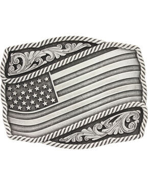 Montana Silversmiths Silver Waving American Flag Belt Buckle, Silver, hi-res