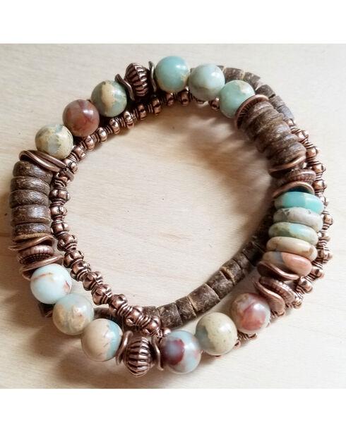 Jewelry Junkie Women's Aqua Terra and Wood Bracelets , Brown, hi-res