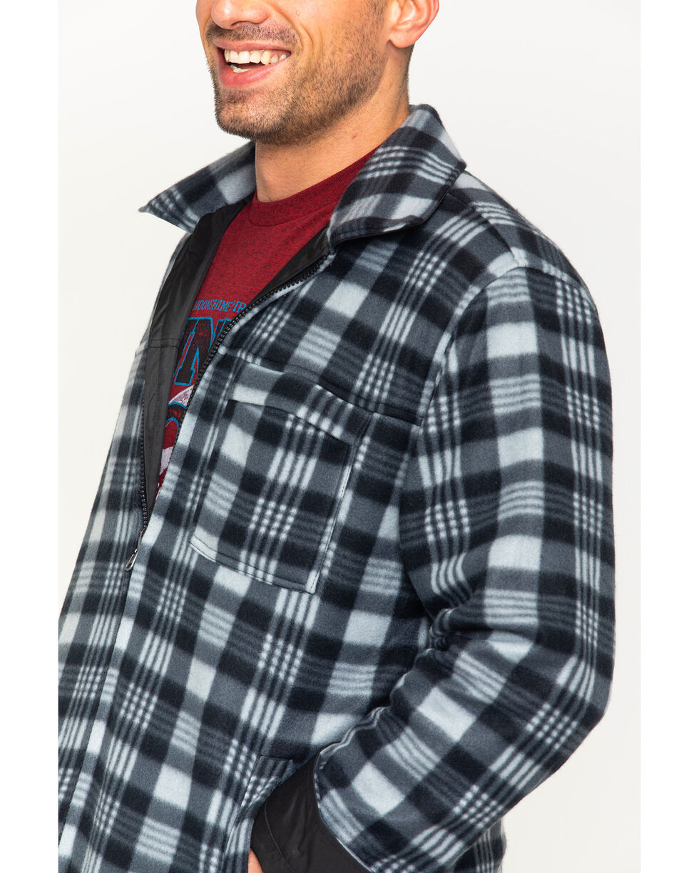 China Leather Men's Black Reversible Plaid Jacket , Black, hi-res
