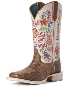 Ariat Women's Circuit Savanna Floral Western Boots - Square Toe, Tan, hi-res