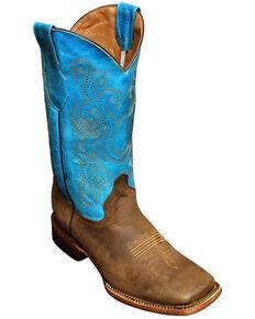 Ferrini Men's Chocolate Cowhide Western Boots - Square Toe, Chocolate, hi-res