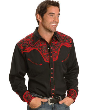 Scully Men's Red Embroidered Gunfighter Shirt, Black/red, hi-res
