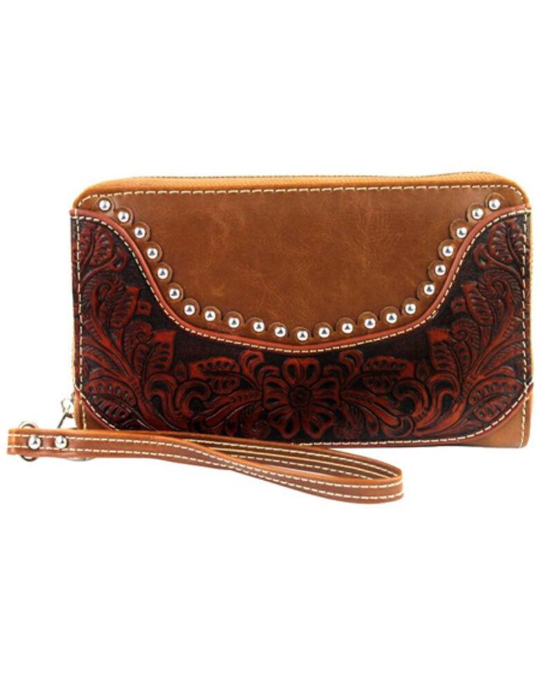 Montana West Women's Hand Tooled Wallet, Brown, hi-res