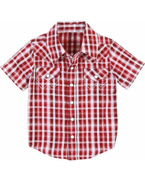 Wrangler Boys' Red Plaid Short Sleeve Shirt , Red, hi-res