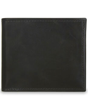 Lucchese Men's Black Leather Hipster Wallet, Black, hi-res