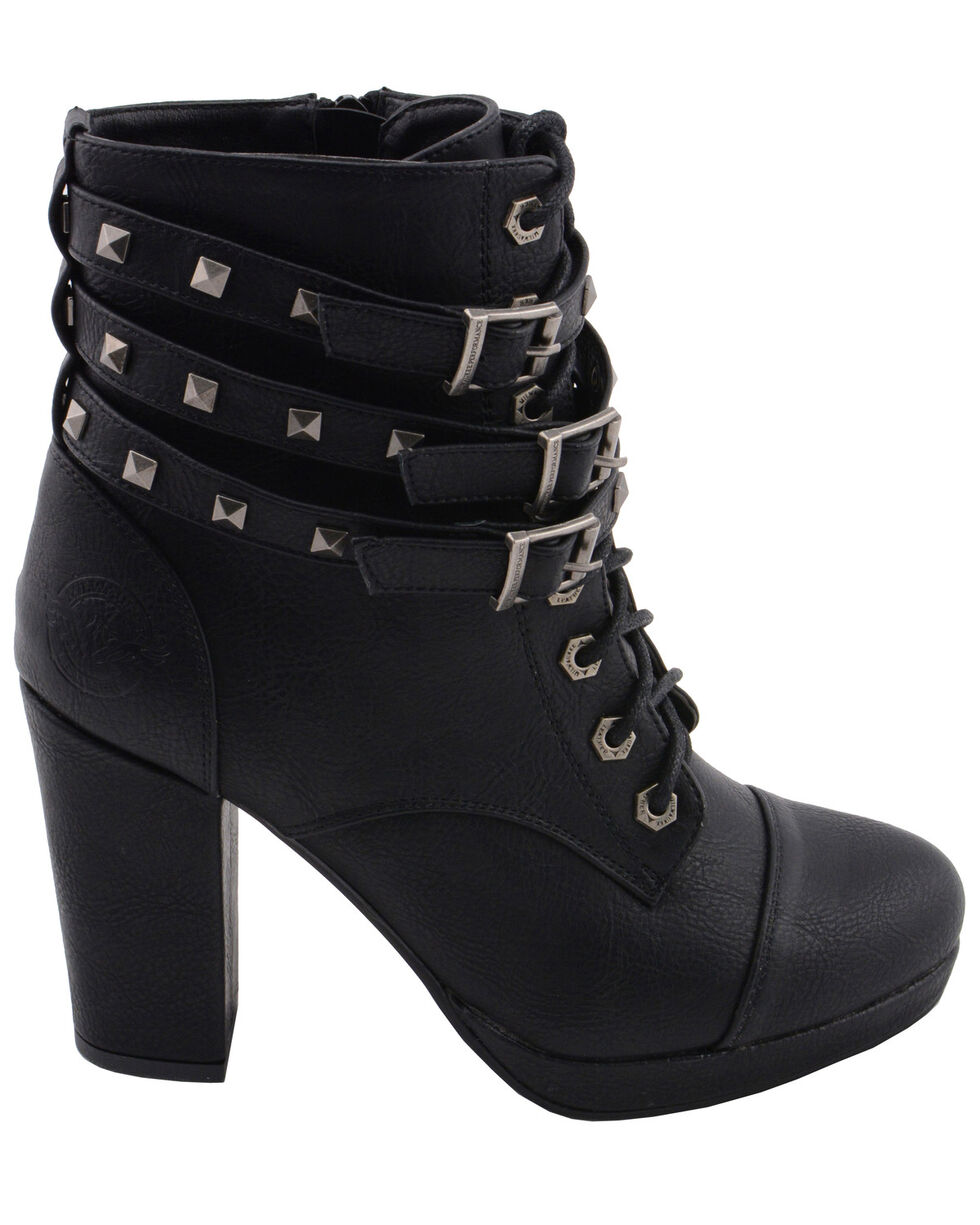 Milwaukee Leather Women's Studded Buckle Strap Laced Ankle Boots - Round Toe, Black, hi-res