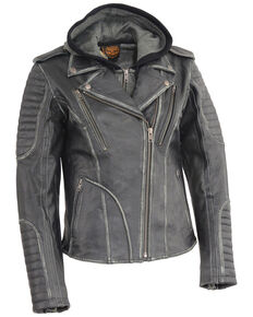 Milwaukee Leather Women's Rub-Off Hoodie Motorcycle Leather Jacket - 5X, Black, hi-res